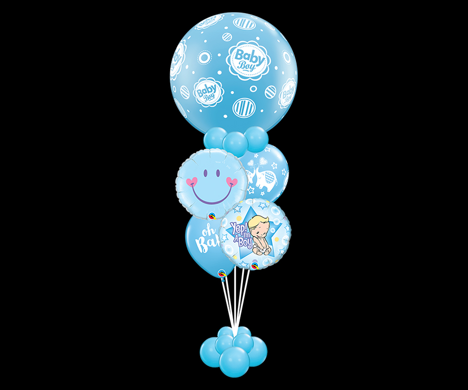 Balloon helium bouquet boy with foils and latex balloons