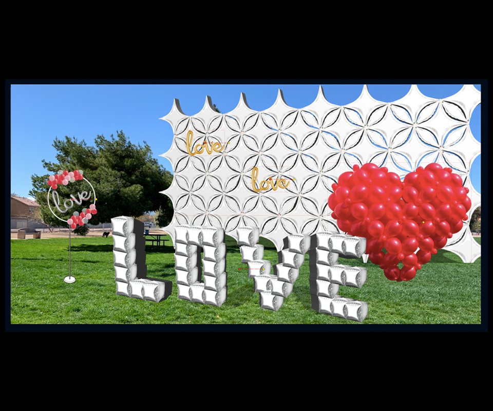 silver starpoint wall with red 3D latex balloon heart, LOVE with silver cubes and organic design on circle with foil balloon love in a park Qualatex