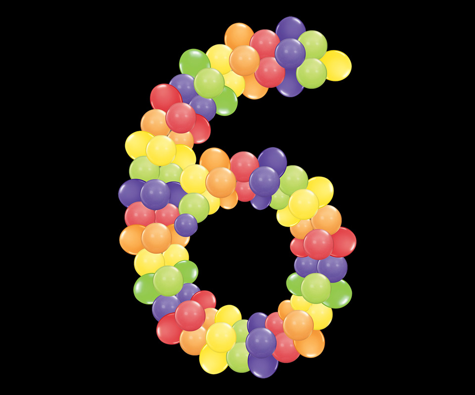 number 6 with round balloons in rainbow colors