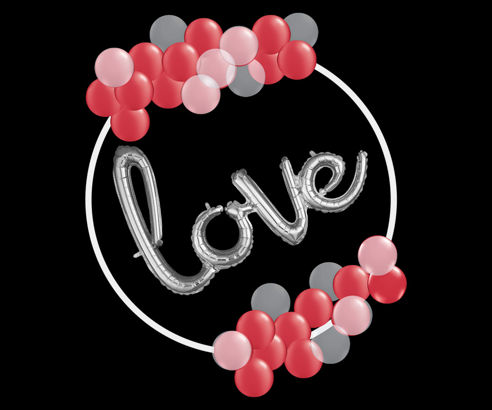 organic balloons on circle with letters love Anagram balloons