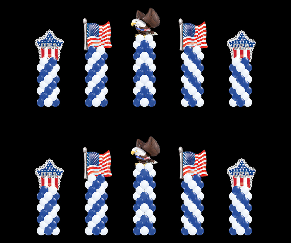 5 swirled latex balloon columns with patriotic toppers