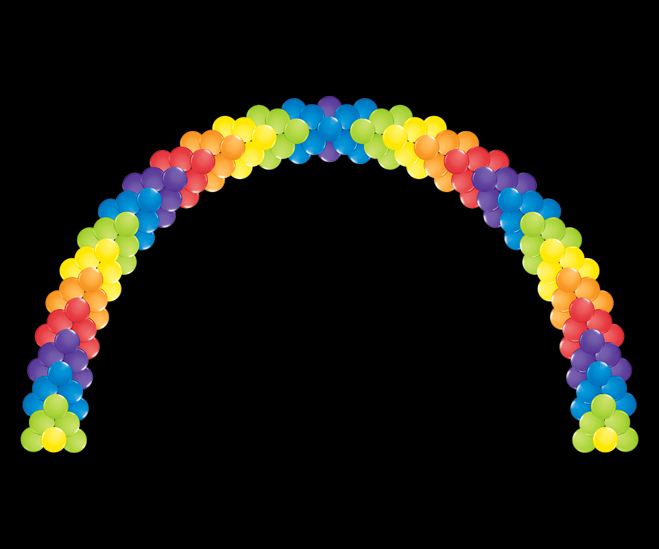 Balloon Arch chevron pattern neon colors