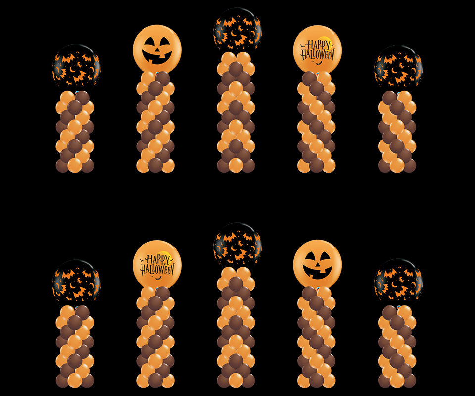 5 balloon columns Halloween themed with toppers