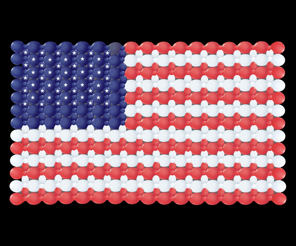 US Flag made with latex balloons