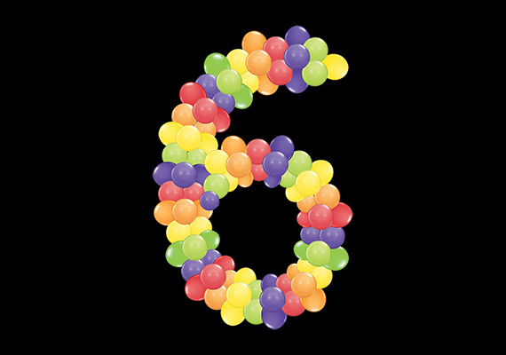 Number 6 - Frame with balloons